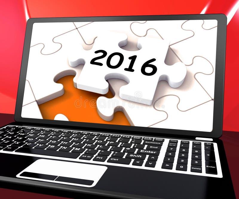 Dwa tysiące I Szesnaście Na laptopie Pokazują nowy rok postanowienie 20 ilustracja wektor