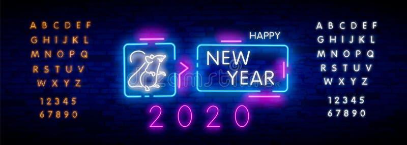 Dwa tysi?ce dwadzie?cia neonowy znak z radosnym neonowym szczurem 2020 na ?ciany z cegie? tle Wektorowa ilustracja w neonowym sty zdjęcie stock