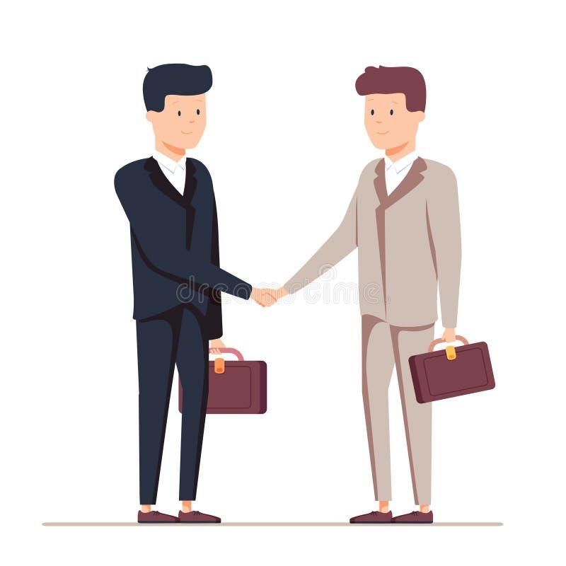Dwa uśmiechniętego biznesmena trząść ręki wpólnie Wektor, ilustracja ilustracja wektor