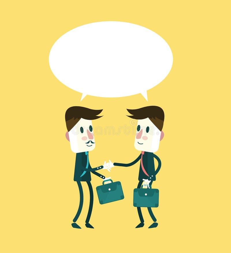 Dwa uśmiechnięty biznesmen w kostiumach jest handshaking i opowiadać ilustracja wektor