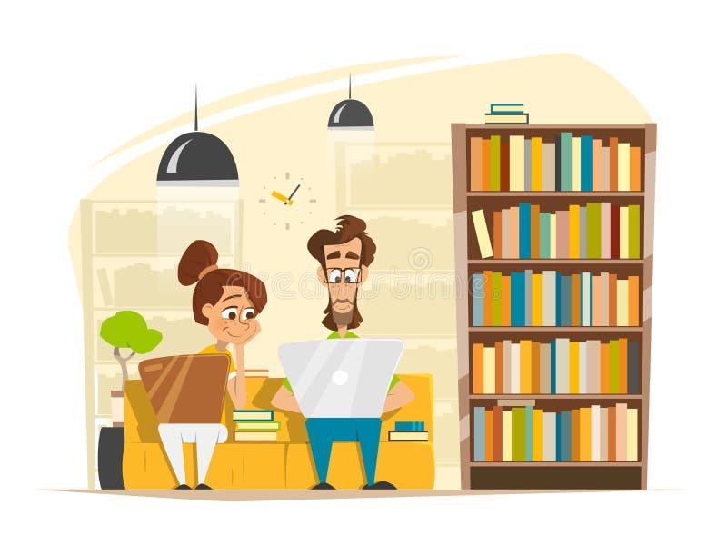 Dwa uczni chłopiec dziewczyny Siedzący studiowanie Z laptopem W bibliotece royalty ilustracja