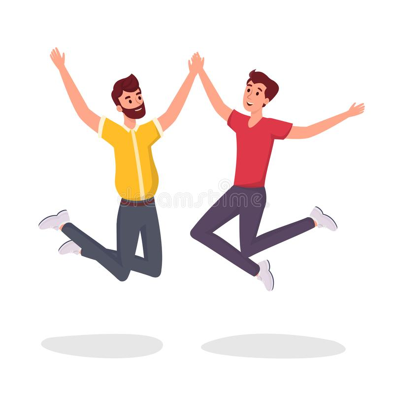 Dwa ucznia skacze płaską wektorową ilustrację Z podnieceniem, uśmiechnięci młodzi człowiecy, urzędnicy, koledzy, bracia, homoseks royalty ilustracja