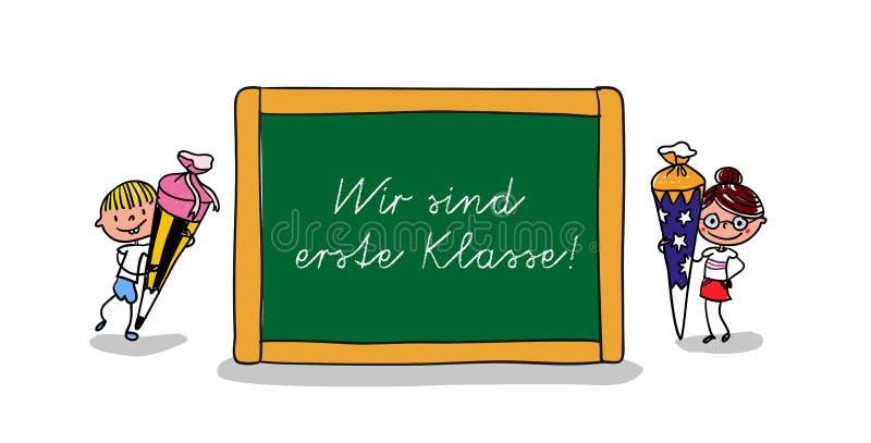 Dwa ucznia stoi obok dużego chalkboard z ręcznie pisany wiadomością szkoła - Z powrotem ilustracji