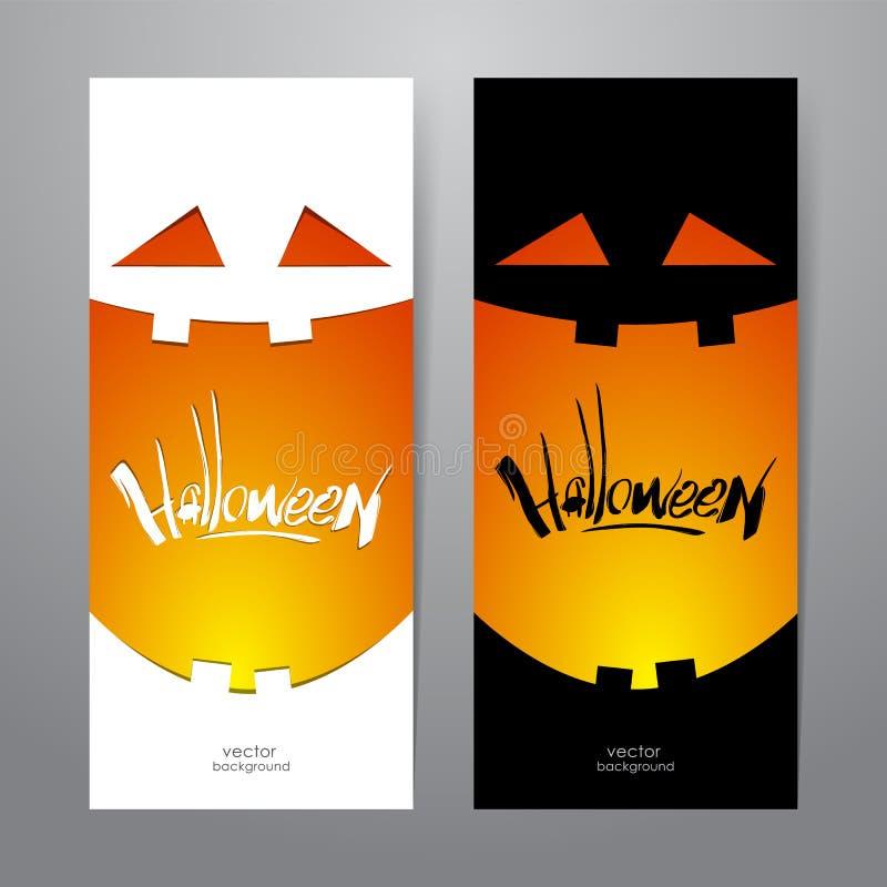Dwa vertical szablonu abstrakcjonistyczny projekt sztandar z dyniowym uśmiechem i ręcznie pisany literowaniem Halloween ilustracja wektor