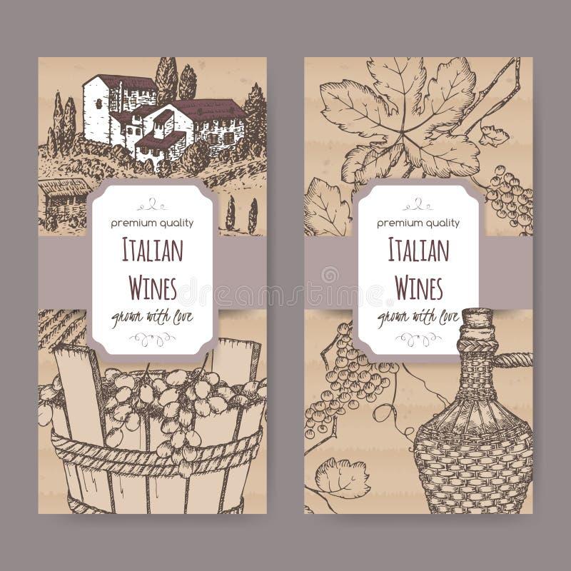Dwa włoszczyzny wina etykietki szablonu na kartonowym tle royalty ilustracja