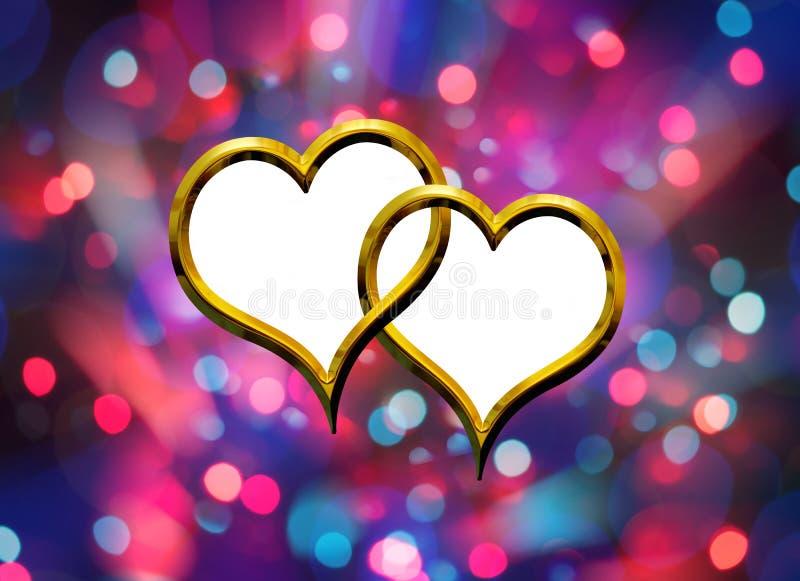 Dwa walentynek złoty serce ilustracja wektor