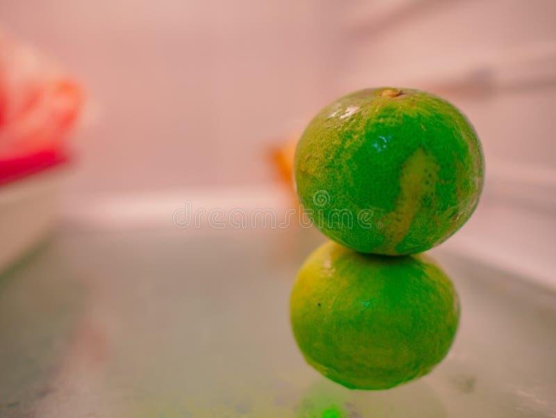 Dwa wapno lub cytryna w chłodziarce zdjęcie royalty free