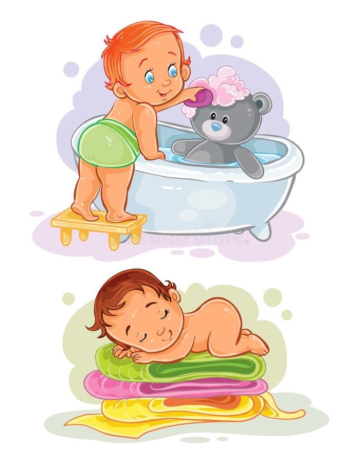 Dwa wektorów klamerki sztuki ilustracja z dzieciakami ilustracji
