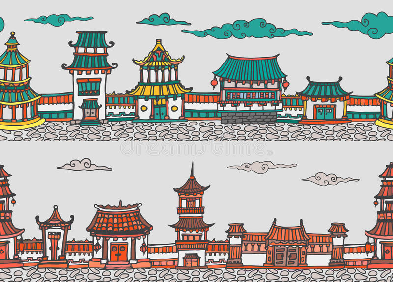Dwa wektorowa bezszwowa panorama chiński lub japoński stary miasteczko obrazy stock
