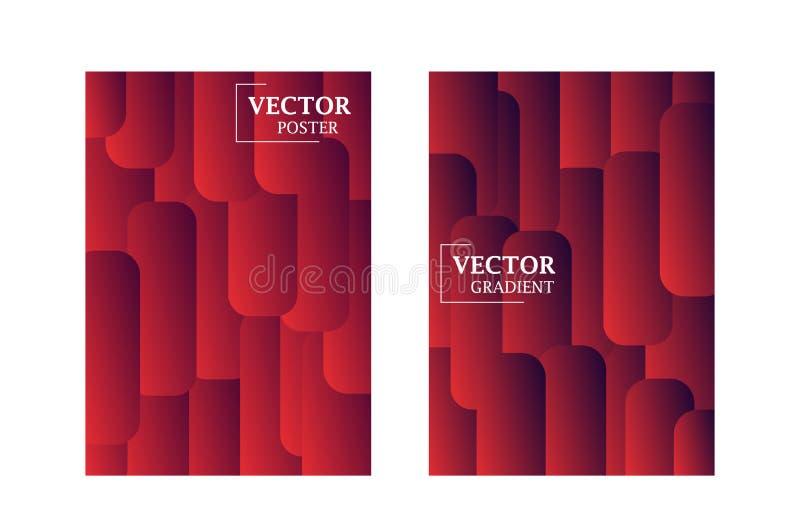 Dwa wektorowego ulotka szablonu w czerwonym kolorze z gradientowym skutkiem royalty ilustracja