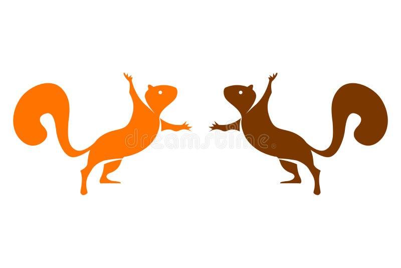 Dwa wektorowej kolorowej wiewiórki odizolowywającej na białym tle royalty ilustracja
