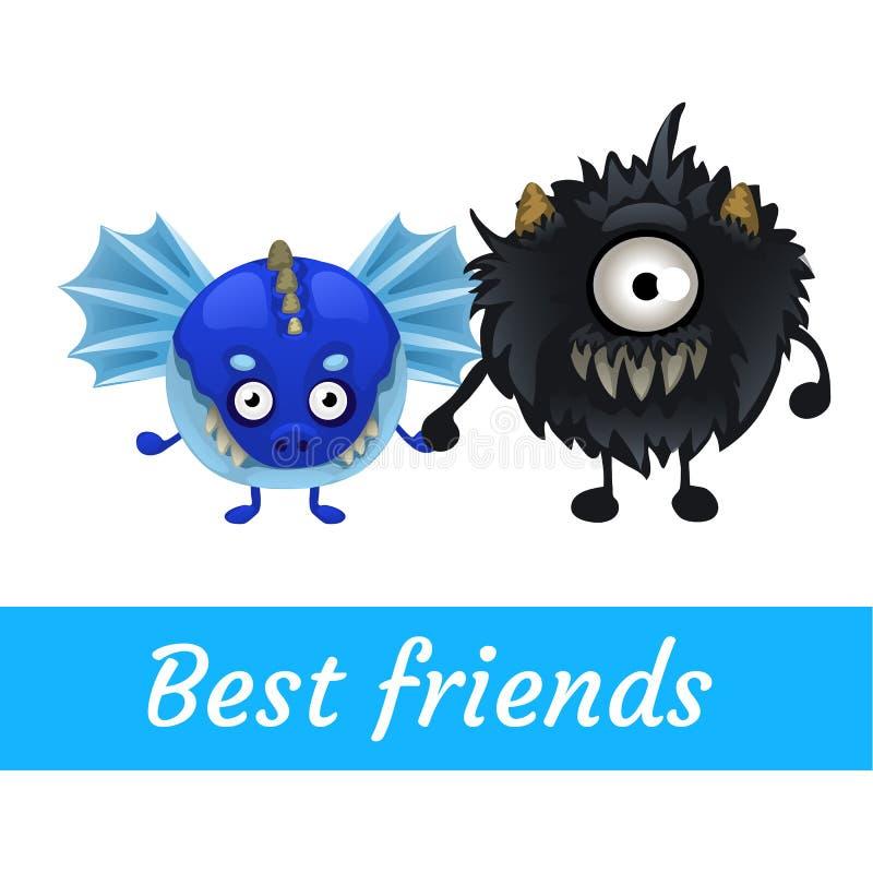 Dwa wektorowy śmieszny potwór, czerń i błękit, ilustracja wektor