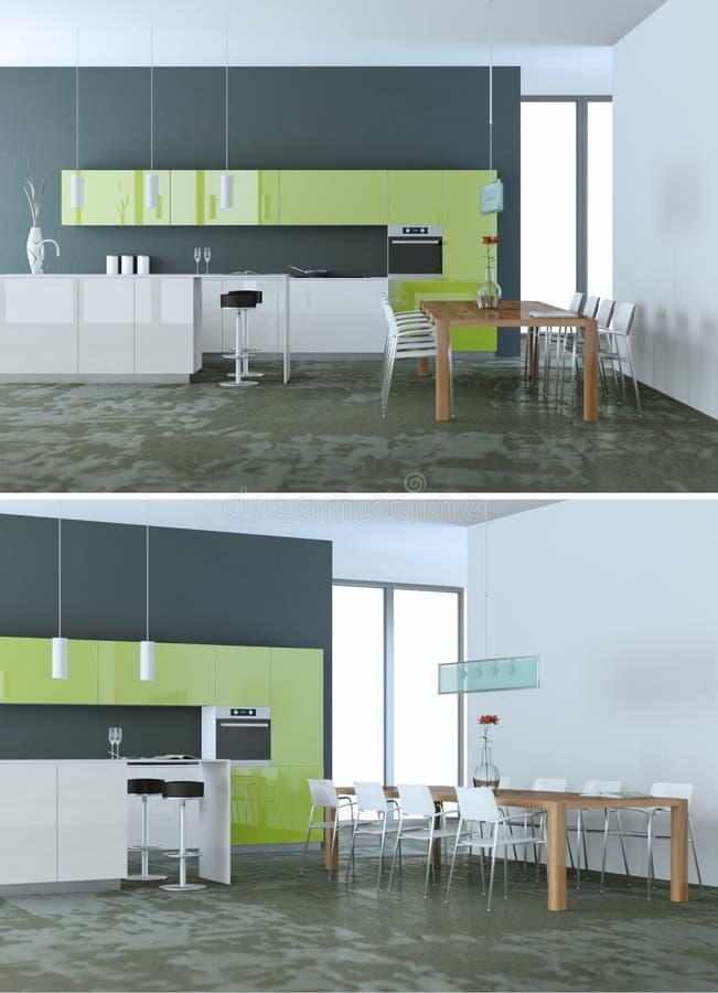 Dwa widoku nowożytny zielony kuchenny Wewnętrzny projekt royalty ilustracja