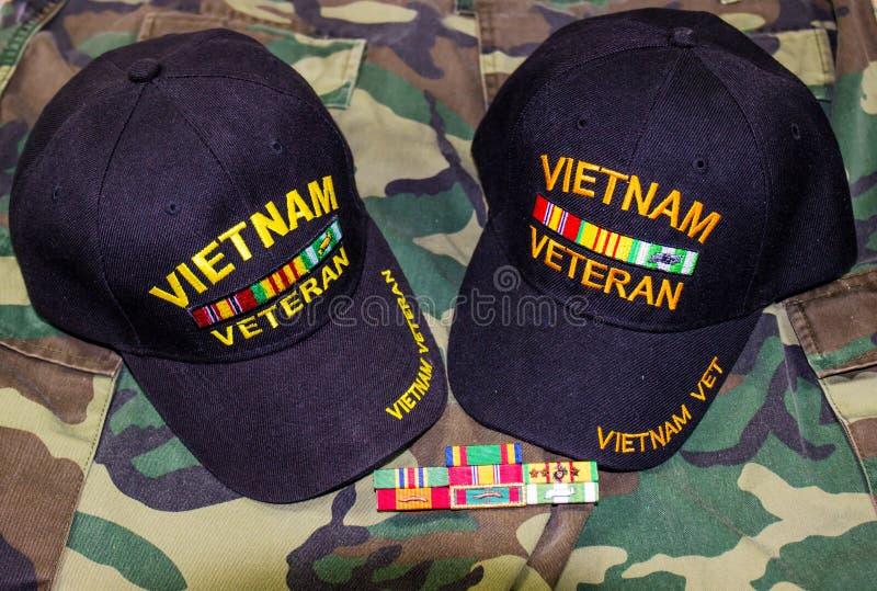 Dwa Wietnam faborku Na kamuflażu & nakrętki zdjęcia royalty free