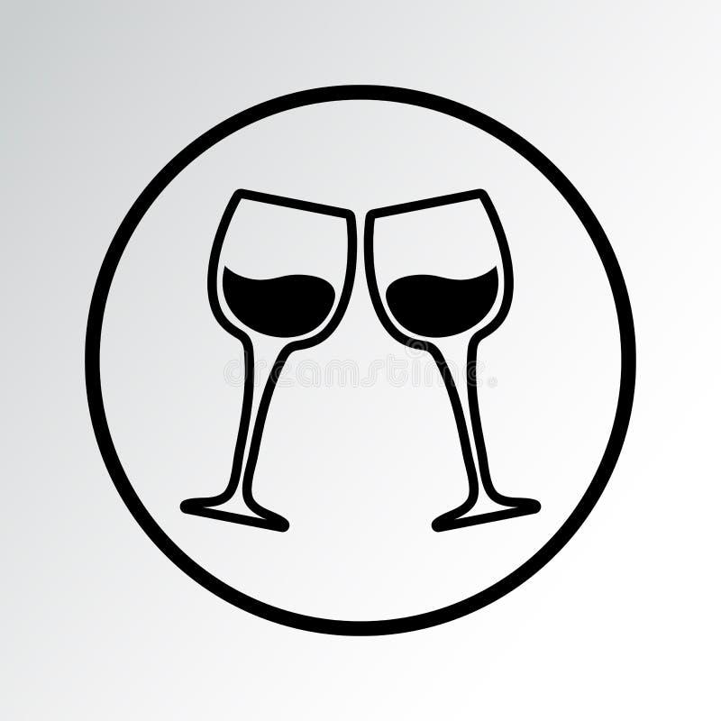 Dwa wina szkła, czarna ikona również zwrócić corel ilustracji wektora ilustracja wektor