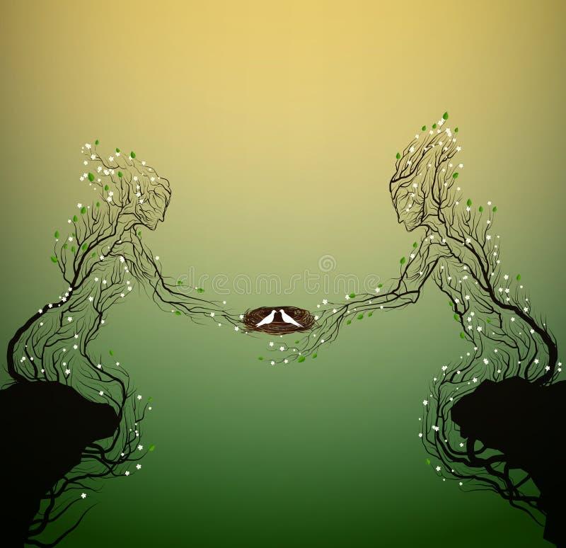 Dwa wiosen sylwetek drzewnego spojrzenia jak mężczyzna, kobieta i trzymać gniazdeczko z białymi pigeeons, rodzinny pojęcie, ilustracji