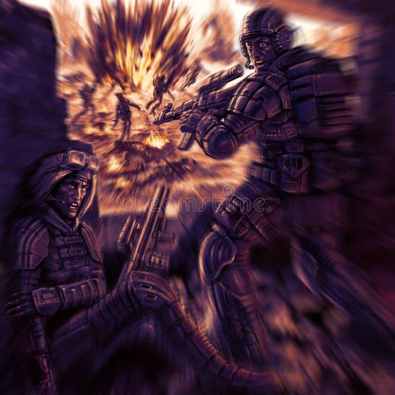 Dwa wojownika podpalają od okno royalty ilustracja