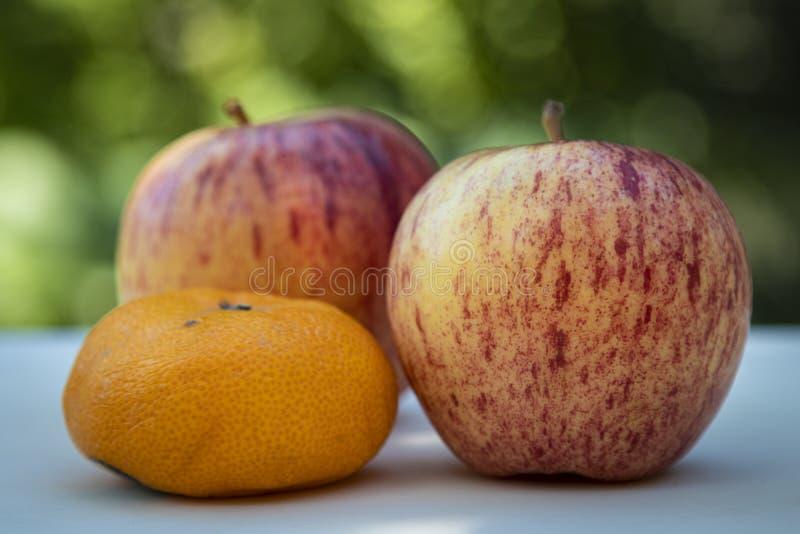 Dwa Wyśmienicie Czerwonego jabłka Up i pomarańcze zakończenie fotografia stock