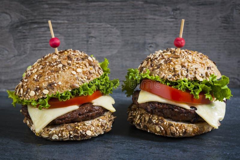 Dwa wyśmienitego hamburgeru zdjęcie royalty free