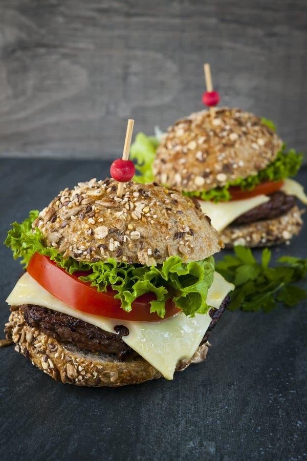 Dwa wyśmienitego hamburgeru obraz royalty free