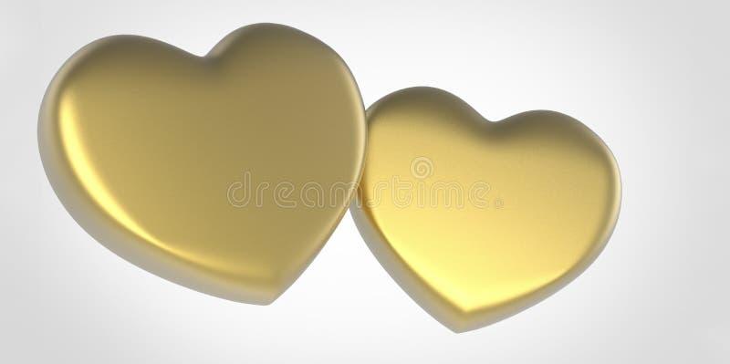 Dwa złocistego koloru żółtego 3D serca na białych szarość siwieją tło ilustracji