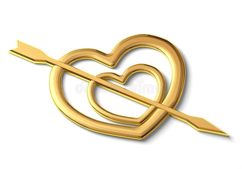 Dwa złocistego serca ilustracja wektor