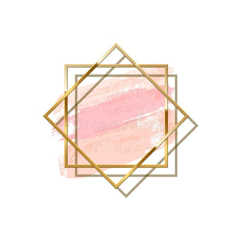 Dwa złotej pokrywają się kwadratowej ramy z cieniem odizolowywającym na pastelowych menchii muśnięciu muskają tło spokojnie redag ilustracji