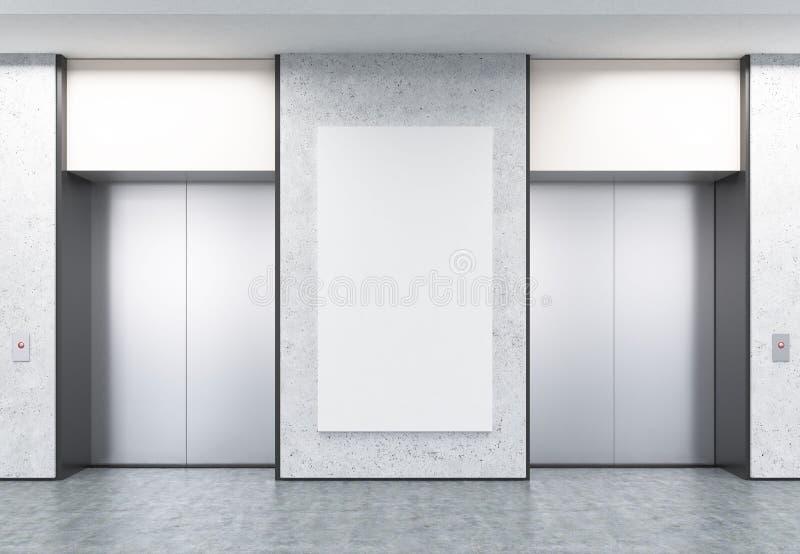 Dwa zamykali windy w korytarzu z betonowymi ścianami i plakatem ilustracja wektor