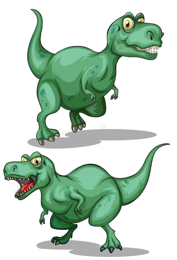 Dwa zielonego dinosaura na bielu ilustracji