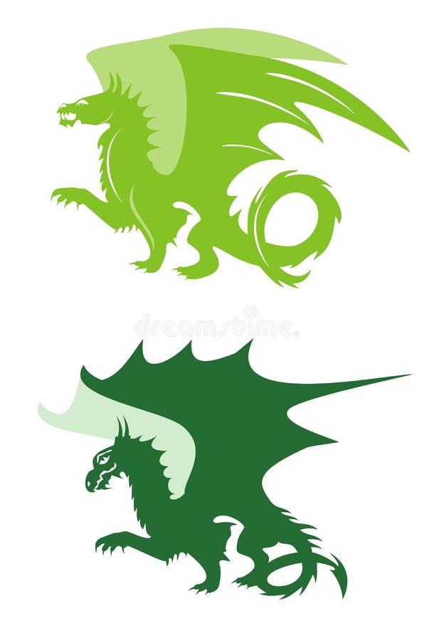 Zielonego smoka symbole ilustracji