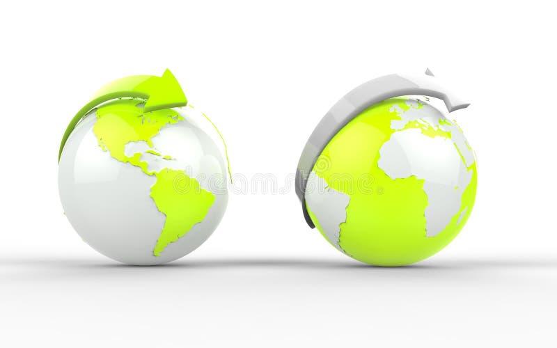 Dwa zielonej kuli ziemskiej ilustracja wektor