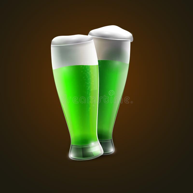 Dwa zielonej piwo koniczyny dla St Patrick dnia royalty ilustracja