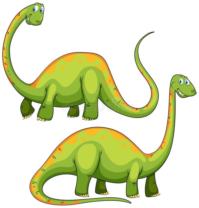Dwa zielonych dinosaurów ono uśmiecha się royalty ilustracja