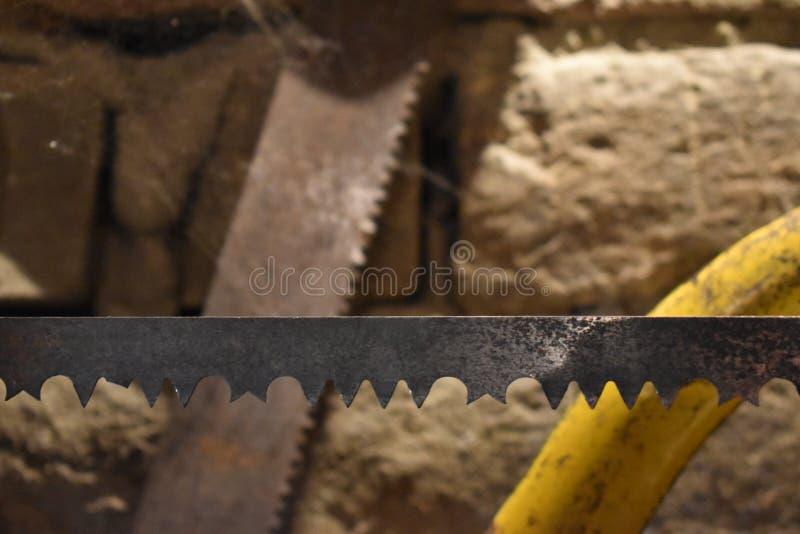Dwa zobaczyli ostrza jeden w ostrości łamali zęby zdjęcie stock