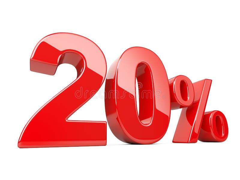 Dwadzieścia czerwieni procentu symbol 20% odsetka tempo Specjalnej oferty di ilustracji