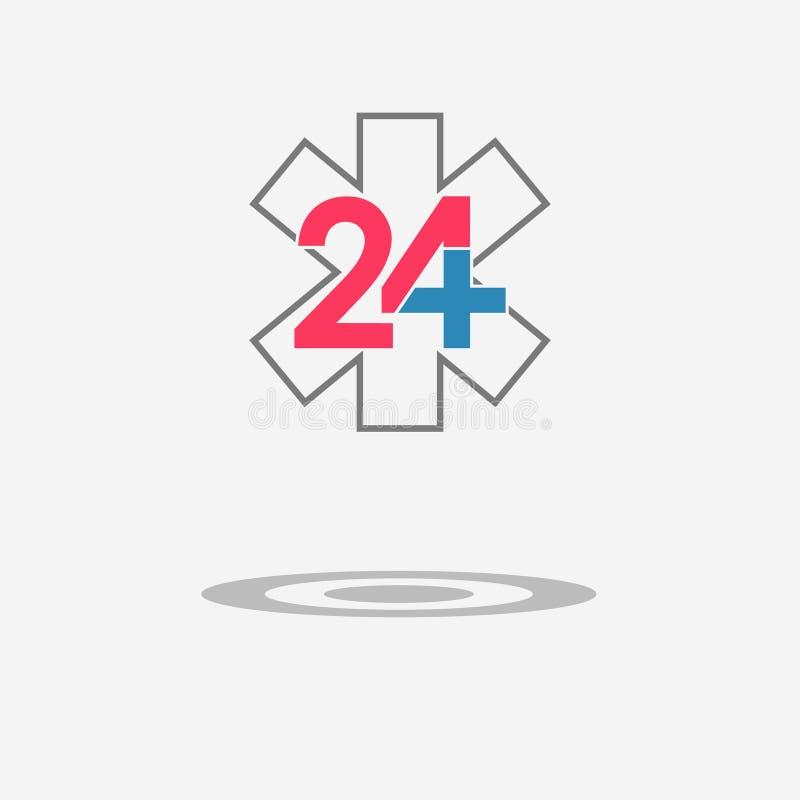 Dwadzieścia cztery dostępna medyczna pomocy ikona Przeciwawaryjny symbol royalty ilustracja