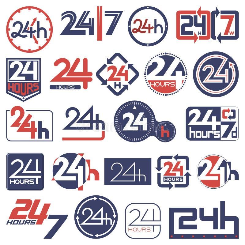 Dwadzieścia cztery godzina i siedem dni w tydzień ikonach ustawiać ilustracja wektor