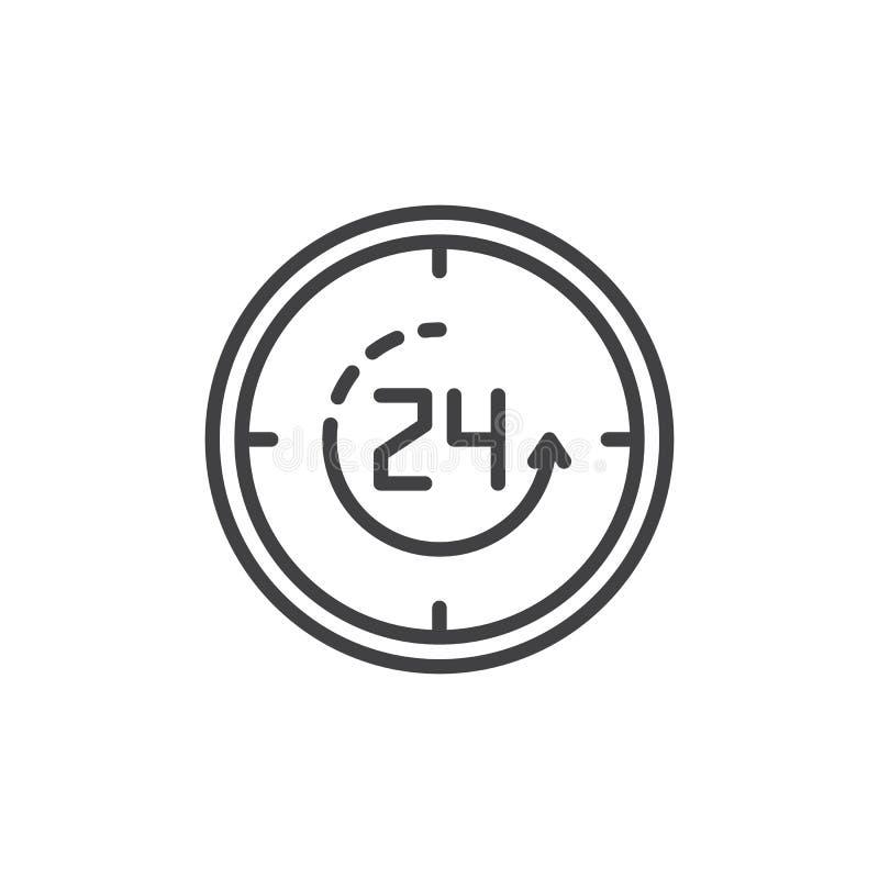 Dwadzieścia cztery godzina otwierają kontur ikonę royalty ilustracja