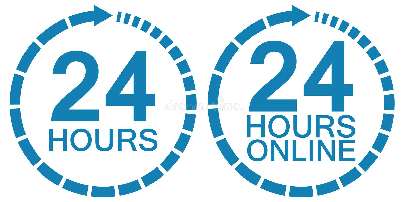 24 dwadzieścia cztery godziny online usługa loga zegarowego wektoru 24 godziny symbol godzin, usługowy operacyjny round zegar onl ilustracja wektor