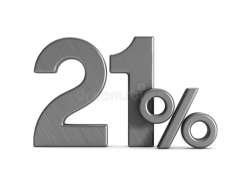 Dwadzieścia jeden procentu na białym tle Odosobniona 3d ilustracja royalty ilustracja