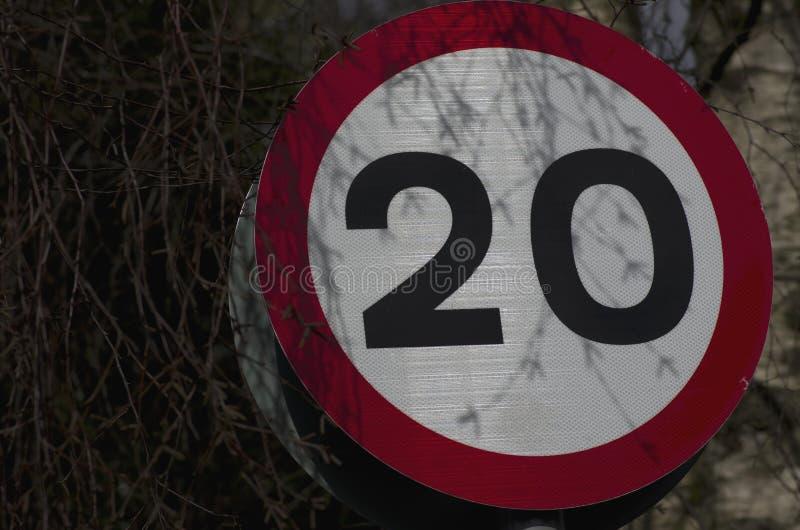 Dwadzieścia mil na godzinę znak uliczny na gałązki tle obraz stock