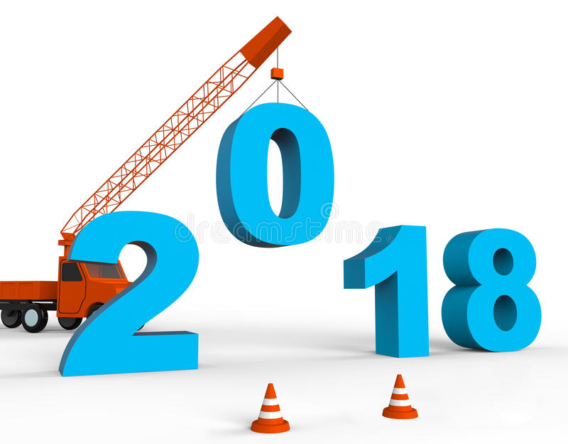 Dwadzieścia Osiemnaście Wskazują 2018 nowy rok I Rocznego 3d renderingu ilustracji