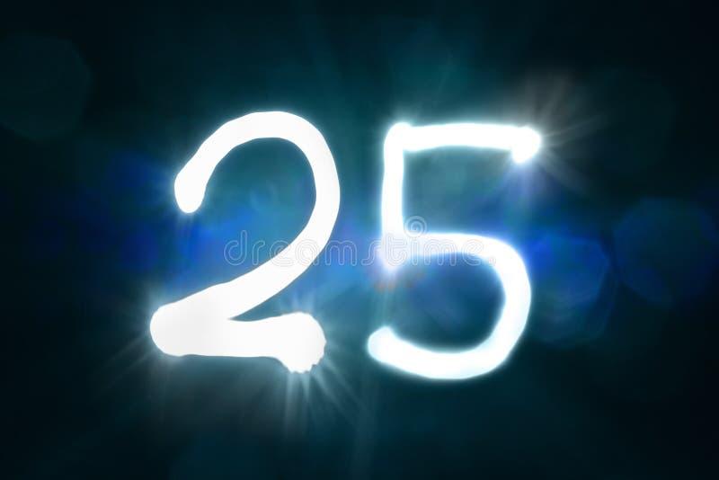Dwadzieścia pięć lekkich błyskotanie połysku liczby rocznicy rok fotografia stock