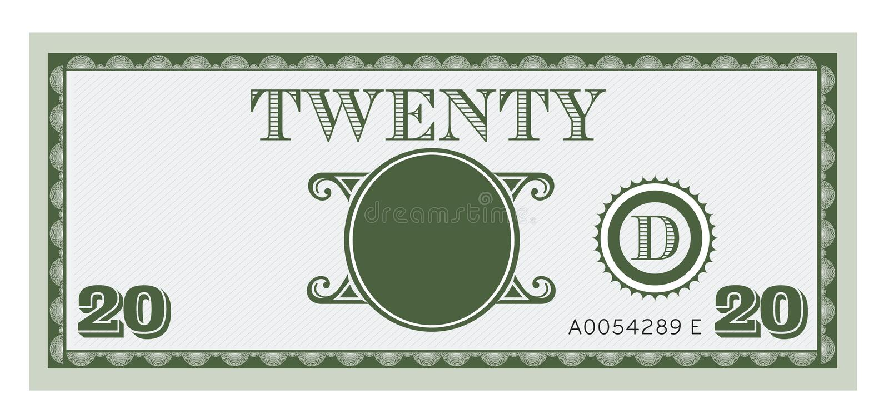 Dwadzieścia pieniądze rachunku wizerunek Z przestrzenią dodawać twój te ilustracji