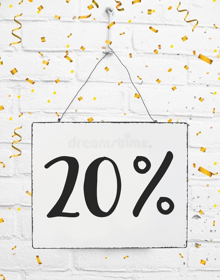 Dwadzieścia 20% procent z czarnego Piątek sprzedaży 20% dyskontowego złotego pa zdjęcie royalty free