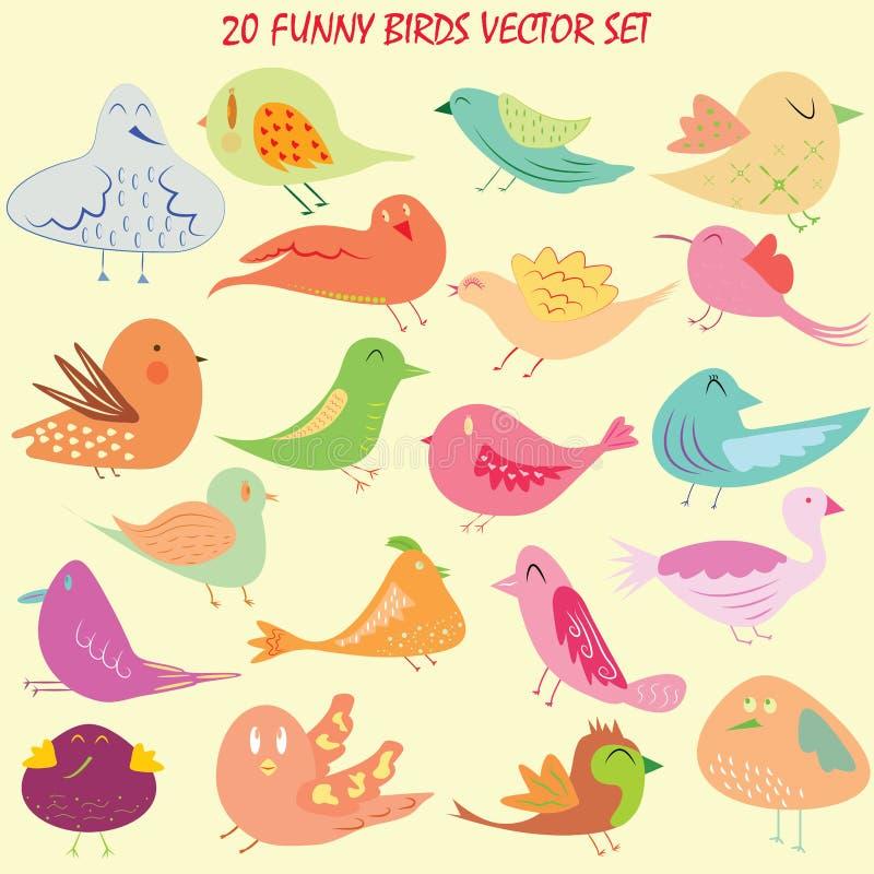 Dwadzieścia ptaków kreskówki set ilustracji