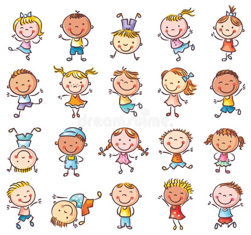 Dwadzieścia szkicowych szczęśliwych dzieciaków skacze z radością ilustracji