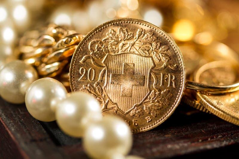 Dwadzieścia Szwajcarskich franków monet fotografia stock