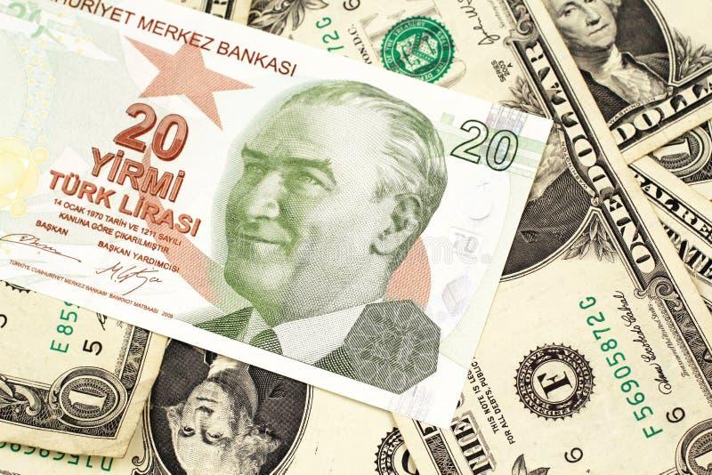Dwadzieścia Tureckiego lira banknot na tle jeden dolarowi rachunki fotografia royalty free