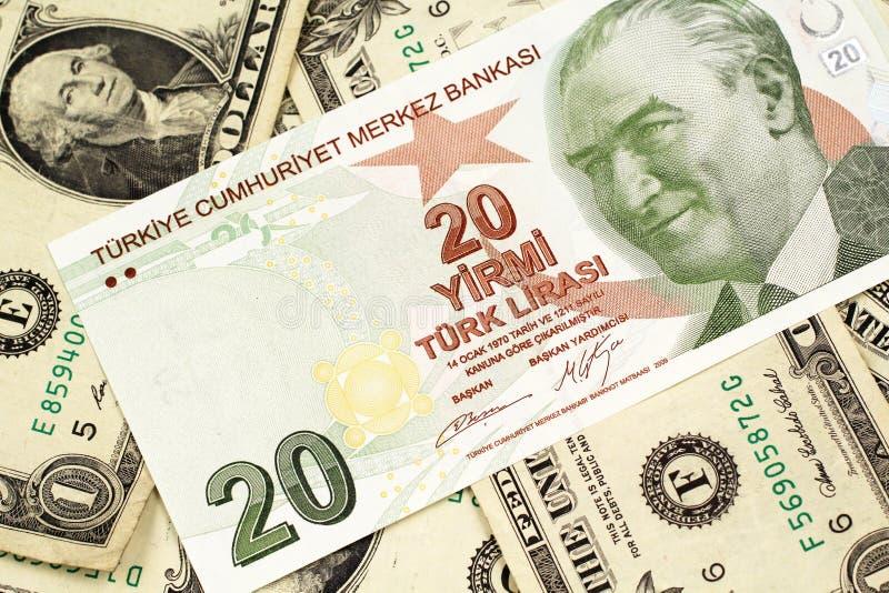 Dwadzieścia Tureckiego lira banknot na tle jeden dolarowi rachunki obraz royalty free